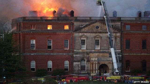 Fire fighters at scene of blaze at Clandon Park House in Surrey