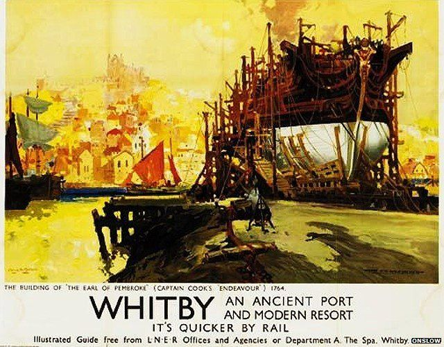 Whitby railway poster by Frank Henry Mason