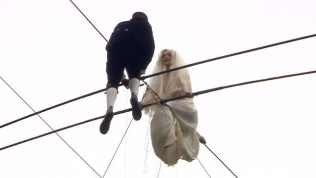 Chris Bull and Pheobe Baker on a high wire
