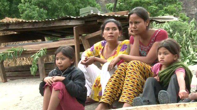 People in earthquake-hit Kathmandu, Nepal