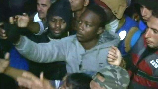 Migrants being rescued off Mediterranean sea