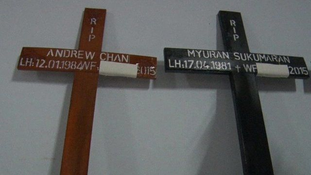 Crosses marking the deaths of Andrew Chan and Myuran Sukumaran