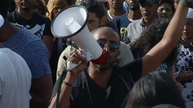Protester at Ethiopian Jewish racism rally in Tel Aviv