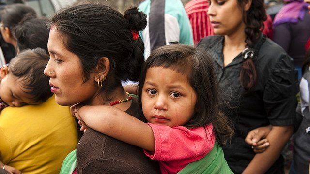 Nepal earth quake aftermath: Mother and child in Kathmandu