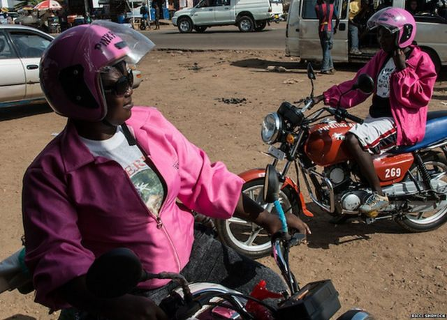 The Liberian bikers who wear pink to stop getting robbed