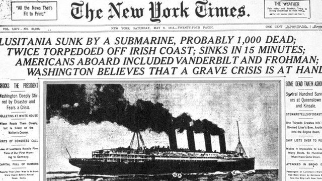 The New York Times reporting on the sinking of the Lusitania
