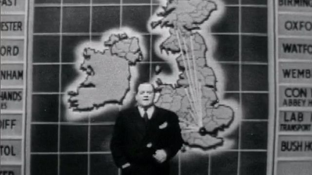 Richard Dimbleby introduces the BBC's first special election night programme in 1955 - 26 May 1955
