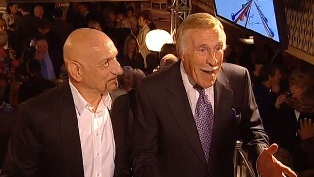 Bruce Forsyth and Ben Kingsley talk to Andrew Neil on election night in 2010 - 6 May 2010
