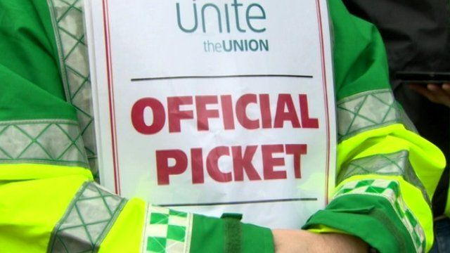 Unite's 24-hour stoppage coincides with a work-to-rule action staged by other ambulance staff