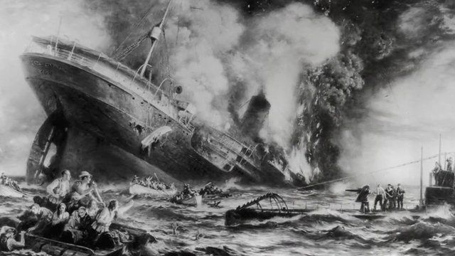 Painting of sinking Lusitania ship