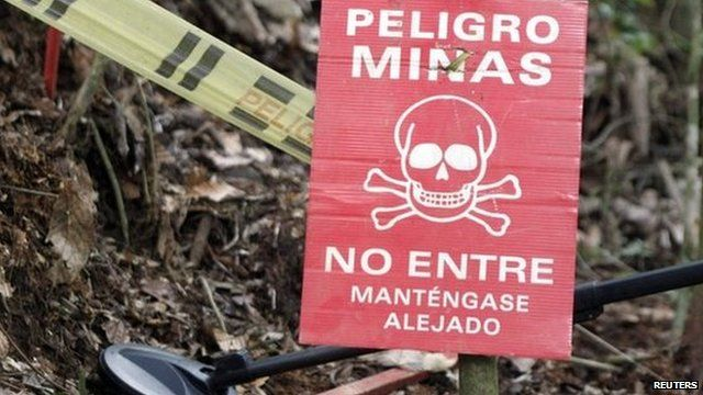 A warning sign for landmines in Antioquia province on 3 March, 2015