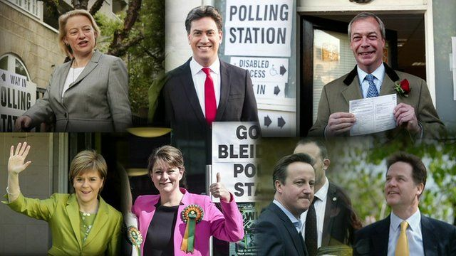 Party leaders voting: Top row Natalie Bennett, Ed Miliband, Nigel Farage, Bottom row: Nicola Sturgeon, Leanne Wood, David Cameron, Nick Clegg