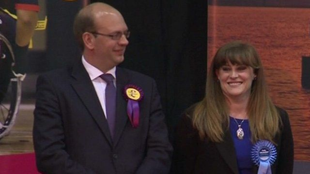 UKIP MP Mark Reckless (l) after losing Rochester & Strood seat to Conservative Kelly Tolhurst (r)