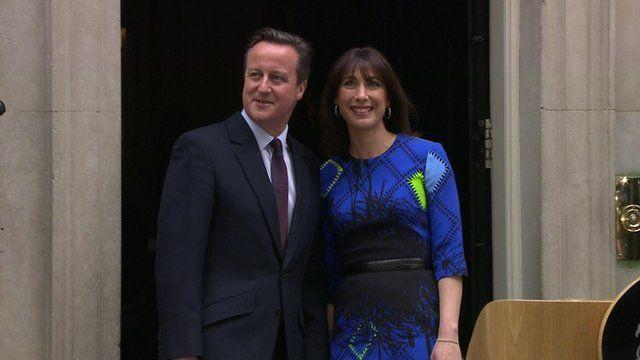 David and Samantha Cameron outside Downing Street