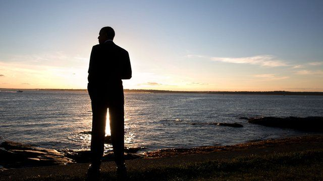 President Obama on Rhode Island beach