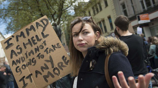 Charlotte Church at the anti-austerity rally in Cardiff