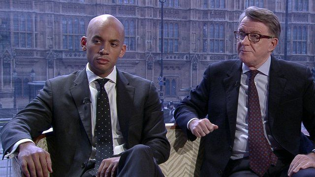 Possible Labour leader candidate Chuka Umunna with Peter Mandelson on the Andrew Marr Show