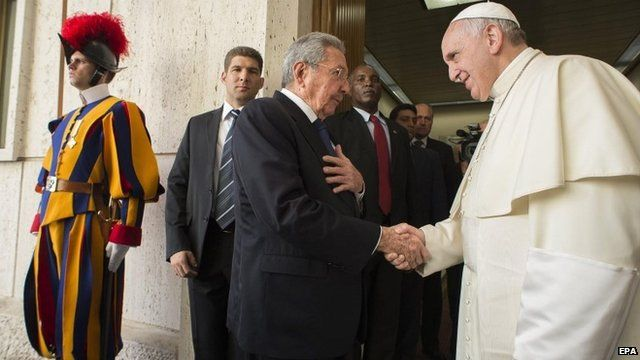 Pope Francis meets Cuban President Raul Castro during a private audience at the Vatican