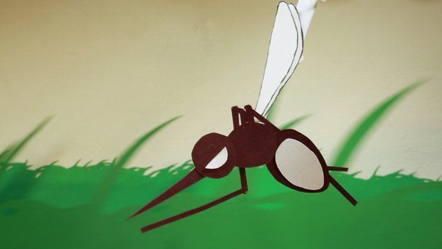 An animated mosquito flying