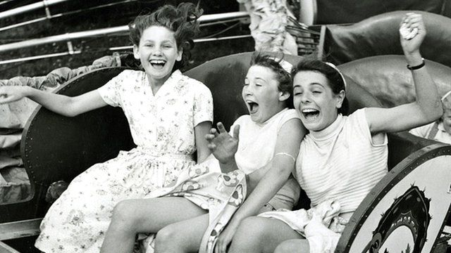 Girls on fairground ride