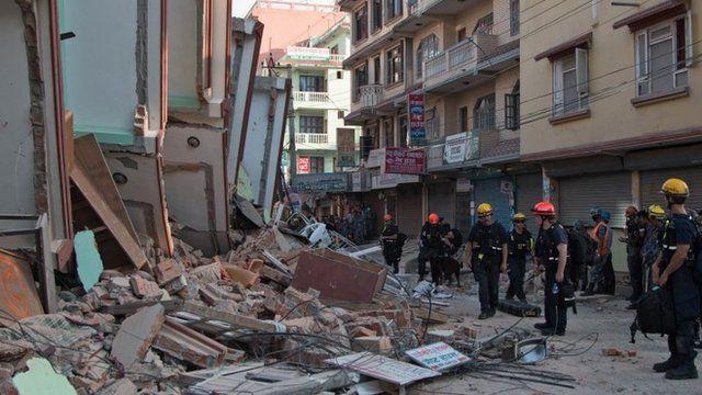 Earthquake devastation in Kathmandu on 12 May 2015