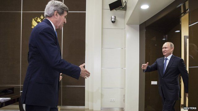 US Secretary of State John Kerry and Russian President Vladimir Putin