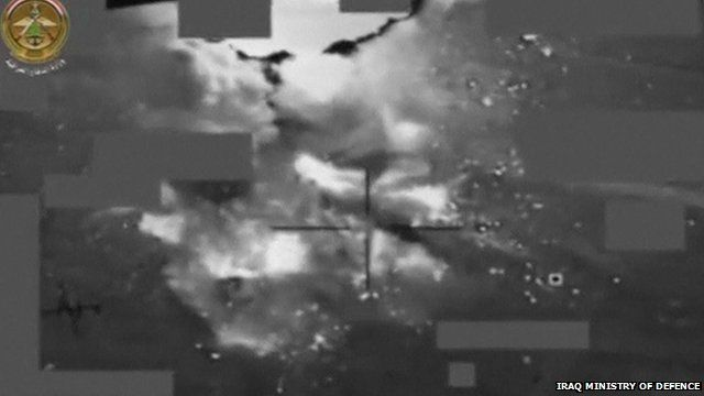 Still from Iraq Ministry of Defence handout showing air strike which is reported to have killed Islamic State's deputy leader, Abu Alaa al-Afari