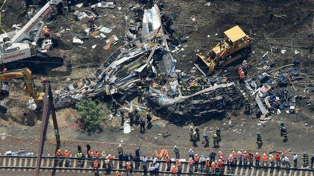 Aerial shot of train crash in Philadelphia