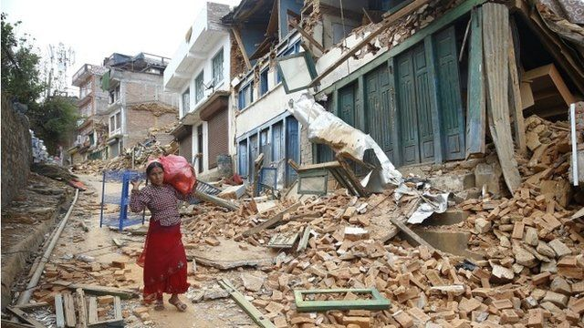 Aftermath of earthquake in Chautara