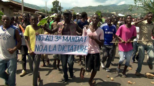 Anti-government protesters in Burundi