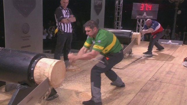 Brad Delosa at the world's lumberjack competition in Italy