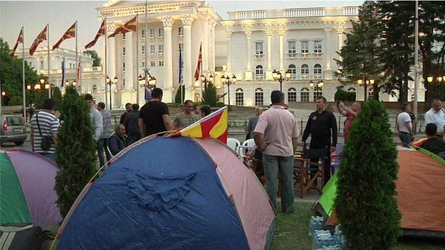 Protesters' tents outside government buildings in Skopje
