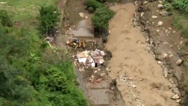 Aerial footage of mudslide