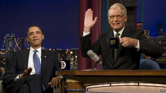 David Letterman with Barack Obama in September of 2009