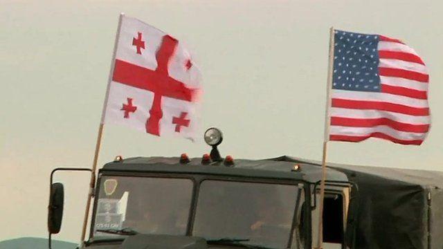 Georgia and US flags