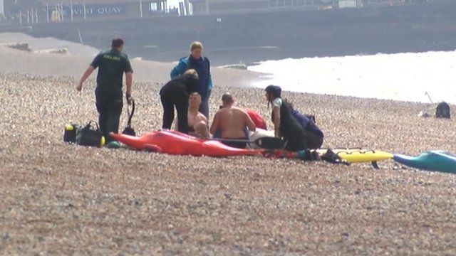 Rescue on Brighton beach