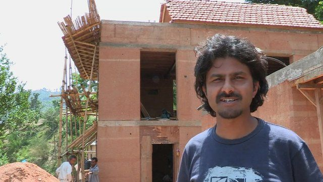 Architect Nripal Adhikary who is building houses out of local, shock-proof materials in Nepal