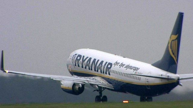 A Ryanair airplane taking off