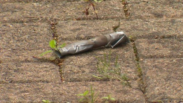 A pipe bomb was found in the back garden of a pensioner's house
