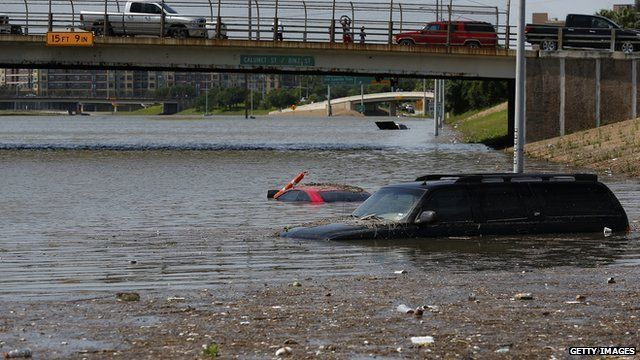 Parts of Houston were under water on Tuesday after heavy rains
