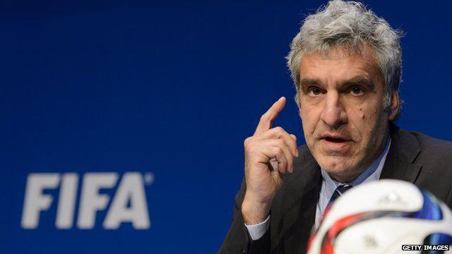 Fifa spokesman Walter De Gregorio at a news conference in Fifa's Zurich headquarters