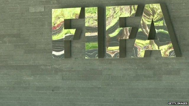 Close up of Fifa logo outside headquarters in Zurich