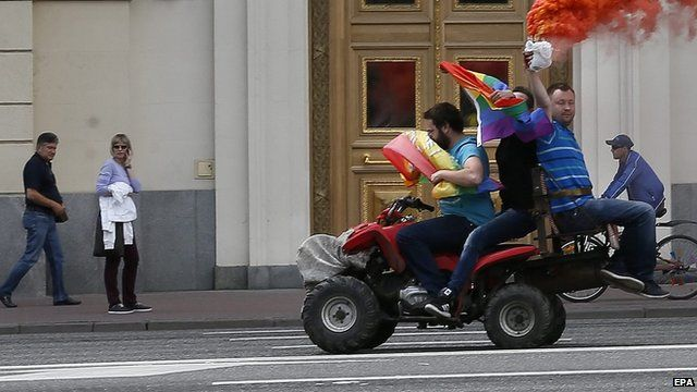 Members of the LGBT community in a gay rights event in Moscow