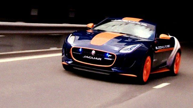 Jaguar Bloodhound F-type being driven in Coventry