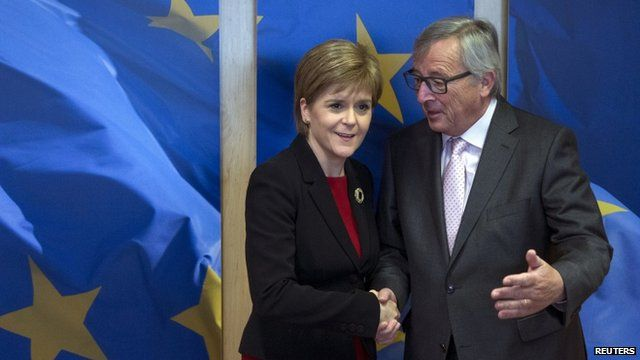 First Minister Nicola Sturgeon is welcomed by European Commission President Jean-Claude Juncker