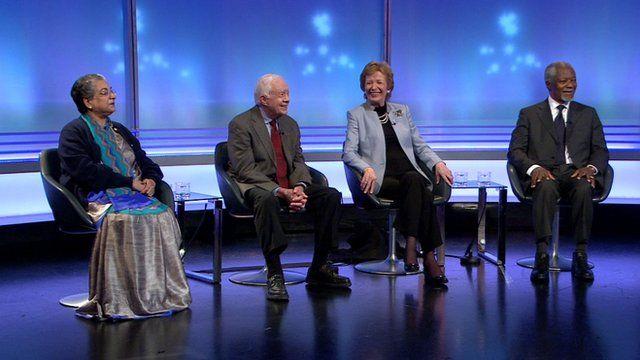 Hina Jilani, Jimmy Carter, Mary Robinson and Kofi Annan (l-r)