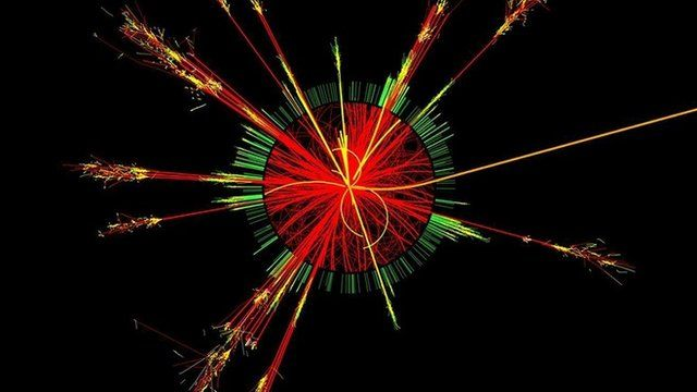 CERN photo of microscopic-black-hole being produced in the collision of two protons