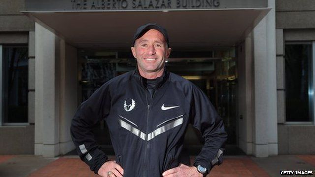 Alberto Salazar outside the building named after him at the Nike campus in Oregon