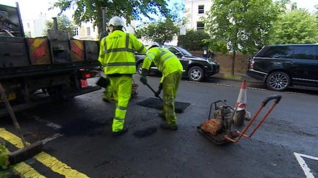 Potholes being repaired in Cheltenham