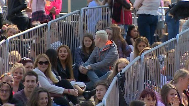 Crowds in Cardiff for the One Direction concert at the Millennium Stadium